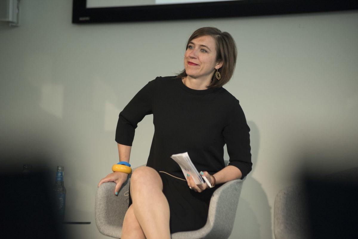 Katharina Beck beim ESMT-Panel zu Klimaschutz