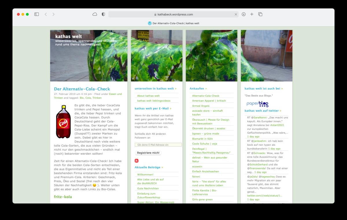 """Screenshot des Blogs """"kathas-welt.de"""""""